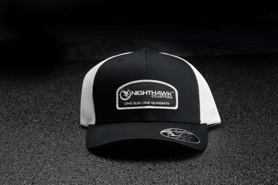 Nighthawk Custom Black On White Patch Logo Cap