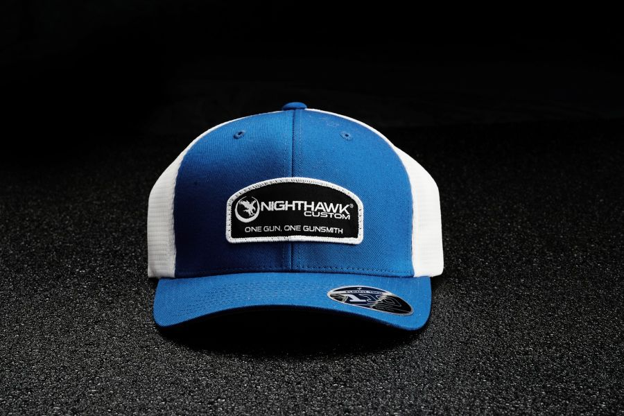 Nighthawk Custom Royal Blue On White Patch Logo Cap