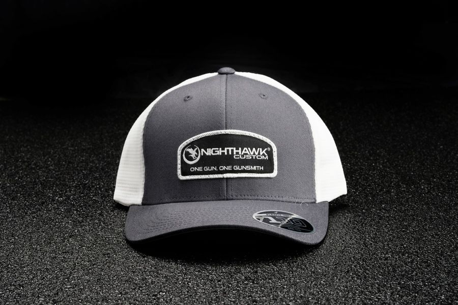 Nighthawk Custom Charcoal On White Patch Logo Cap