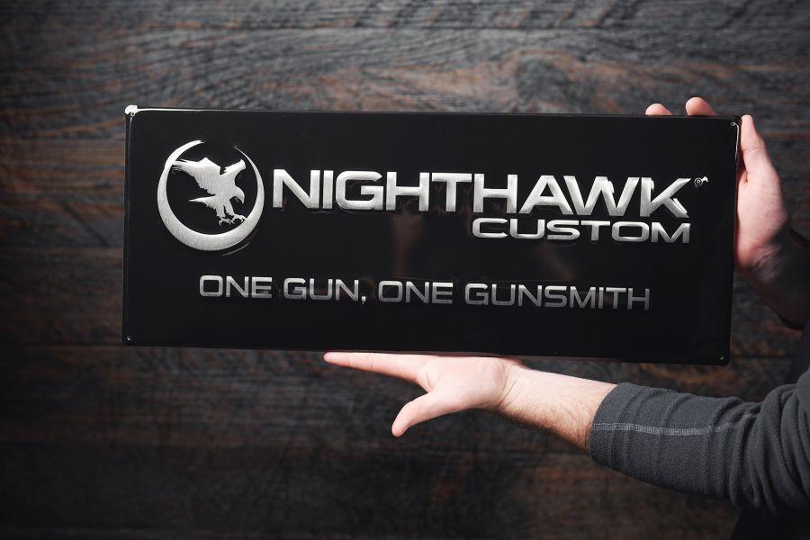 Nighthawk Metal Sign - Black & Silver
