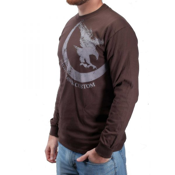 Nighthawk Offset Logo, Long Sleeve, Brown