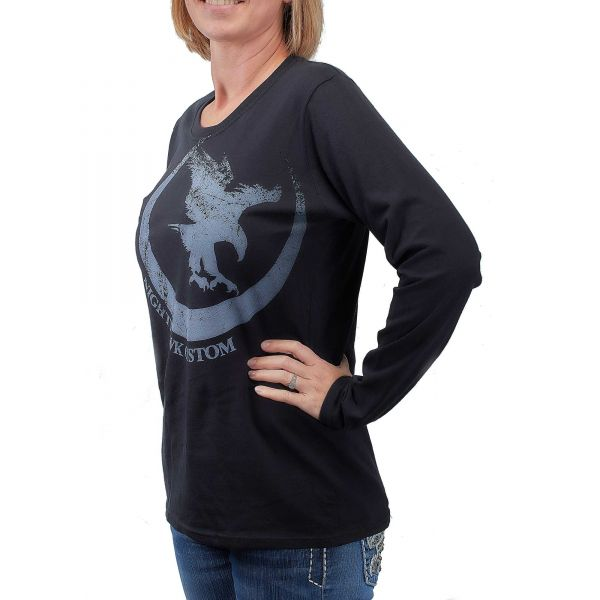 Long Sleeve Tee, Nighthawk Offset Logo, Black, Women's