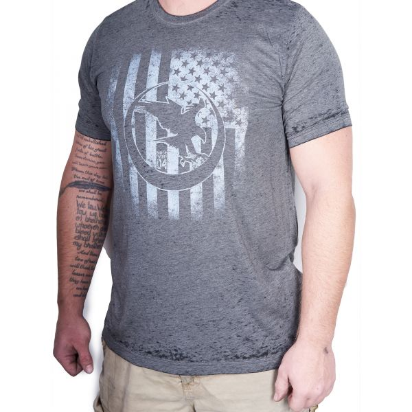 Distressed NH Logo on American Flag, T-Shirt, Acid Wash Gray