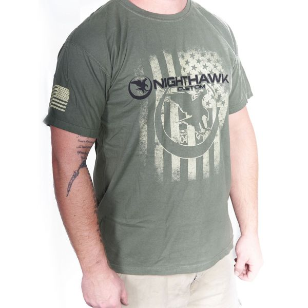 Distressed NH Logo on American Flag, T-Shirt, Military Green