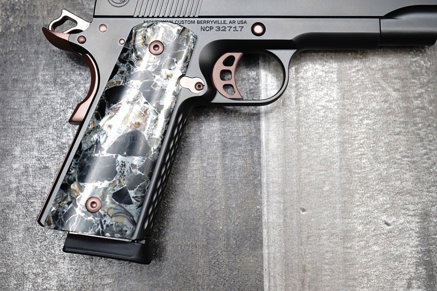 1911 Grips, Thin, Obsidian, Abalone, and Zinc, Government/Commander