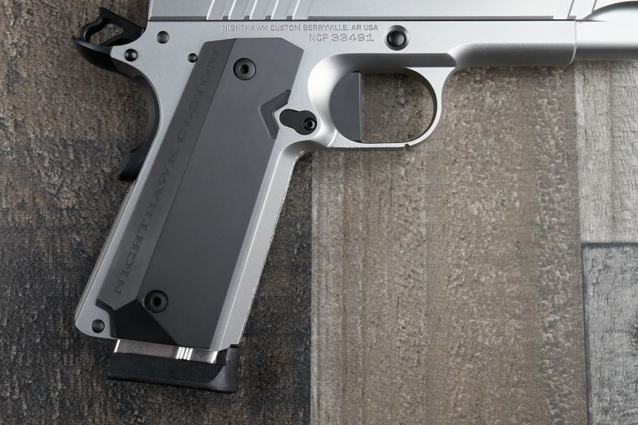 1911 Grips, Stealth, Black, Aluminum, Thin, Government/Commander