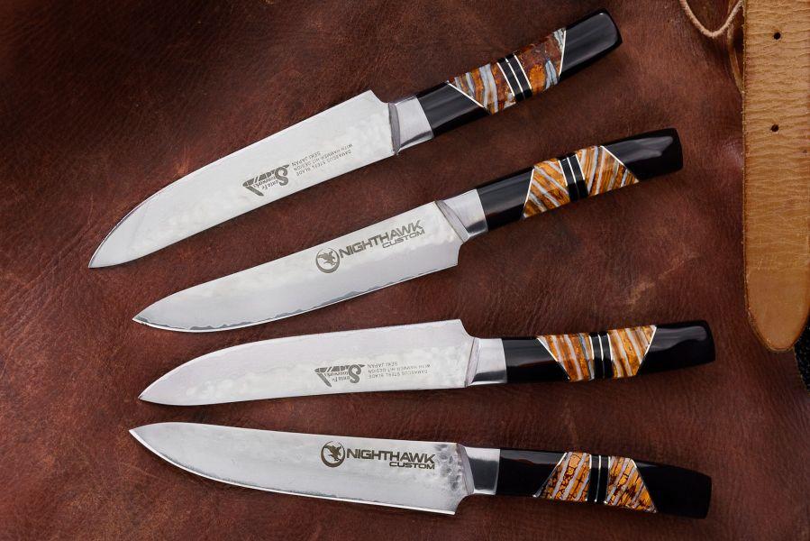 Hammered Damascus Mammoth Tooth Steak Knife Set