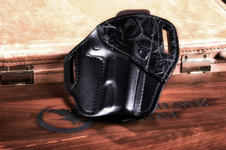 Holster, Western Trim, Black, Unlined, Government
