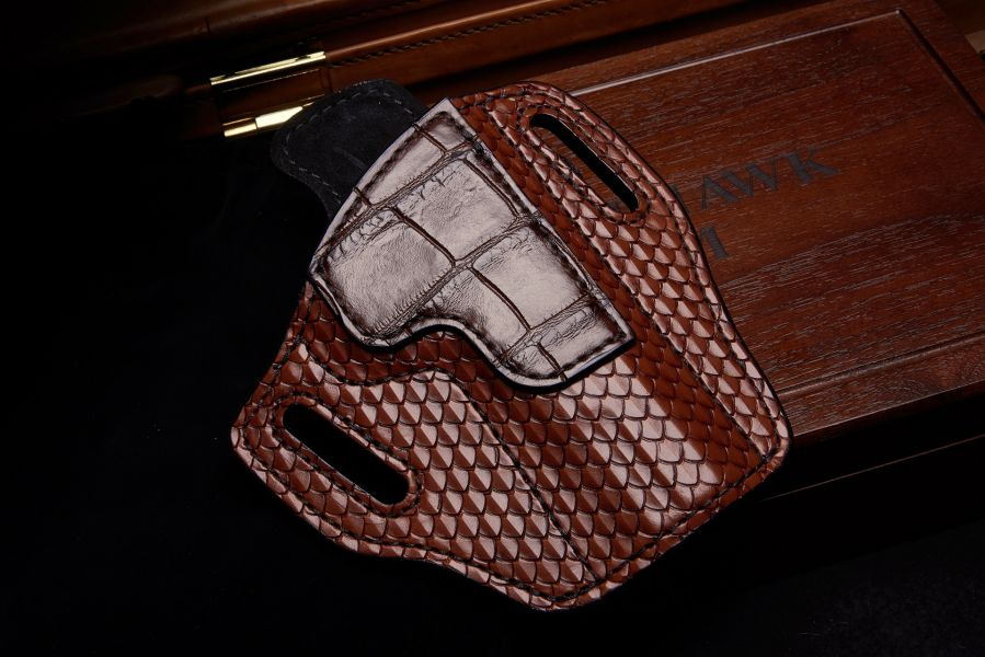 Holster, Tooled Leather w / Alligator Trim, Lined, Government
