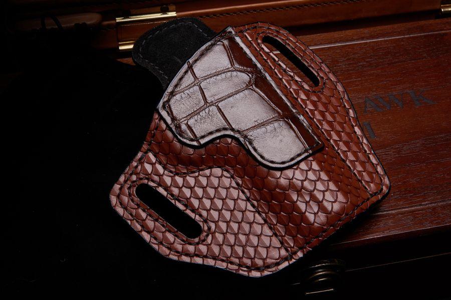 Holster, Tooled Leather w / Alligator Trim, Lined, Commander