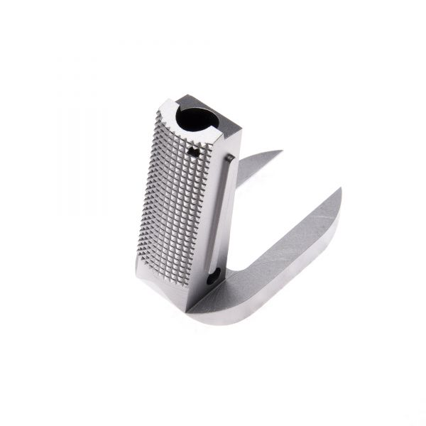 1911 Mainspring Housing/Magwell, Officer, Flat, Checkered, Stainless